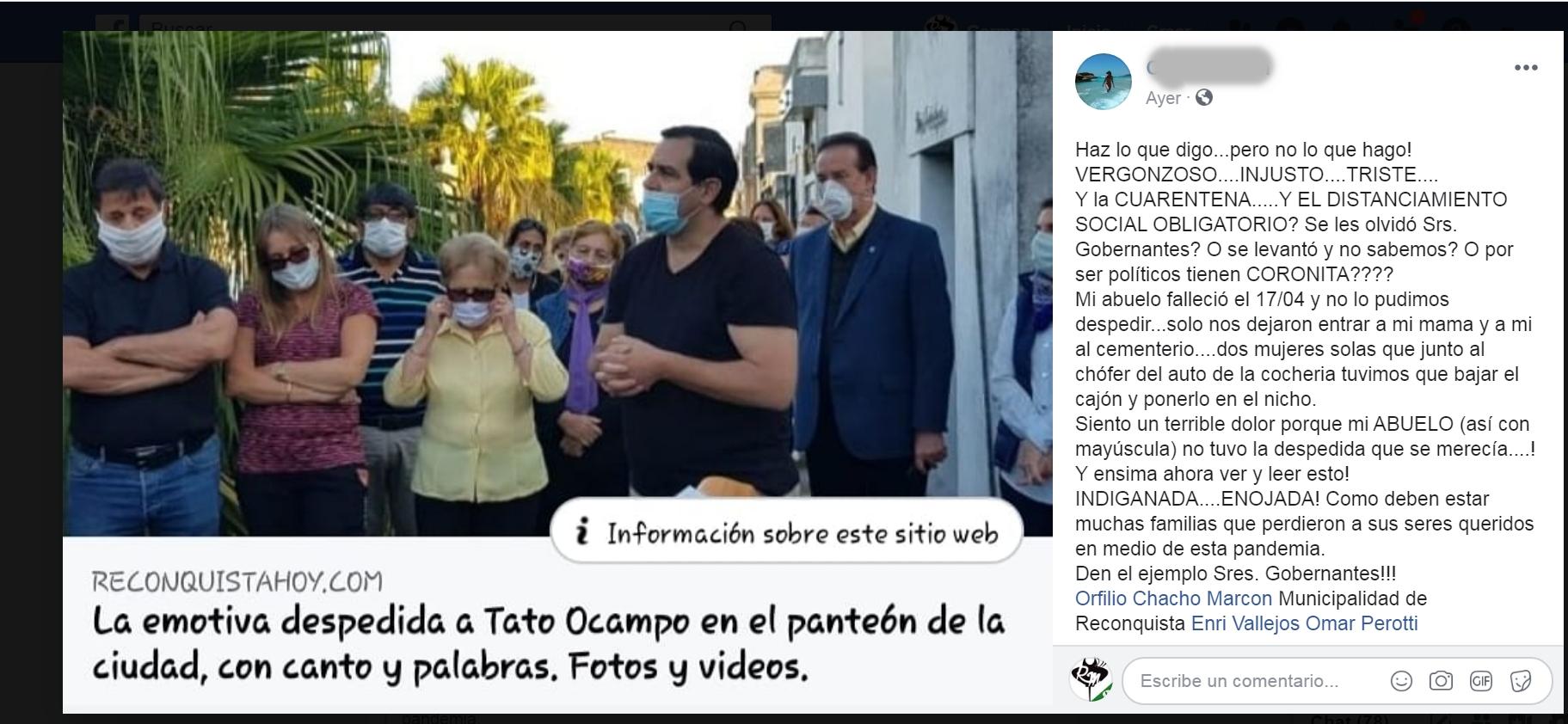 Políticos violan la cuarentena en el entierro de Tato Ocampo