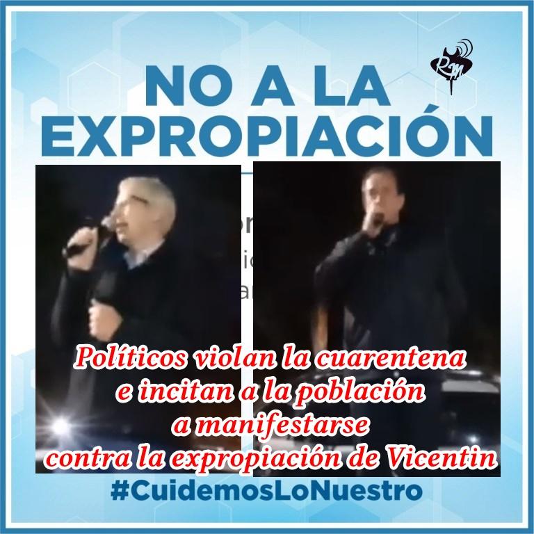 Políticos  violan la cuarentena e incitan a la población a manifestarse contra la expropiación de Vicentin