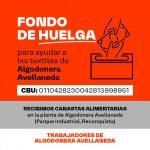 Fondo de huelga para los trabajadores de la algodonera Avellaneda
