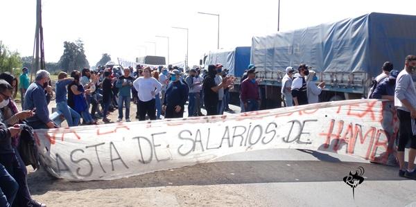 Corte de ruta de los trabajadores de la Algodonera Avellaneda