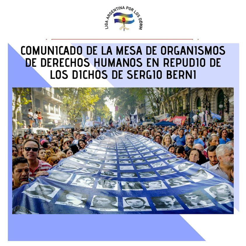Repudiamos las palabras del Ministro Berni sobre el colectivo de Derechos Humanos
